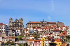 Skyline of the old part of the city of Porto - stock photo