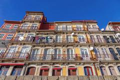The typical colorful buildings of the Ribeira District in Porto, Portugal - stock photo