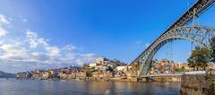 Panorama of the Ribeira District and Dom Luis I bridge in Porto, Portugal Stock Photos