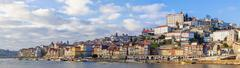 Panorama of the Ribeira District of the city of Porto, Portugal - stock photo