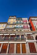 The typical colorful buildings of the Ribeira District in Porto, Portugal. - stock photo