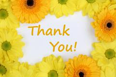 Thank You with flowers Chrysanthemums Stock Photos