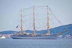 The sail ship Nadezhda of Russian Federation - stock photo