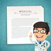 Aquamarine Medical Background with Doctor - stock illustration