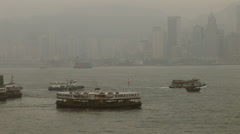 Dawn in HongKong harbor looking from Kowloon Stock Footage