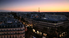 France Paris Eiffel tower sunset rooftop skyline illuminated building Stock Footage
