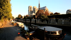 France Paris River Seine Notre Dame church cathedral sunrise Stock Footage