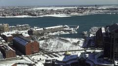 Boston Harbor in Winter Stock Footage