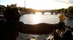 France Paris Pont Alexandre 111 bridge River Seine Eiffel tower sunset Stock Footage