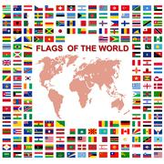 Flags of the world and  map on white background. Vector illustration. - stock illustration