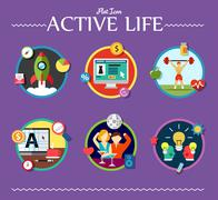 Stock Illustration of active life collection of vector illustration various topics flat style