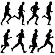 Set of silhouettes. Runners on sprint, men. vector illustration. Stock Illustration