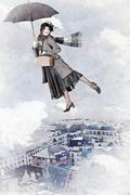 Mary Poppins flies on an umbrella - stock illustration