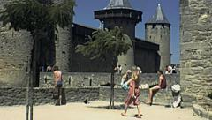 Carcassone 1978: people visiting the castle - stock footage