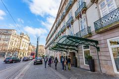 Entrance of the Palacio das Cardosas Intercontinental Hotel  in Porto, Portugal Stock Photos