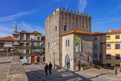 The Medieval Tower of the Dom Pedro Pitoes Street in Porto, Portugal Stock Photos