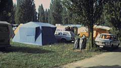 France 1978: camping Stock Footage