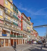The typical colorful buildings of the Ribeira District - stock photo