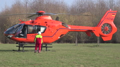 EC 135 Helicopter start up Stock Footage