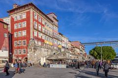 The typical colorful buildings of the Ribeira District Stock Photos