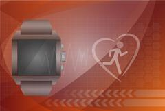 Fitness tracker application for smart watch concept with heart monitor and si - stock illustration