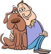 Dog with owner cartoon illustration Stock Illustration