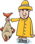 angler with fish cartoon - stock illustration