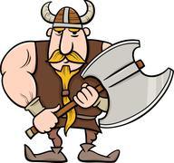 viking cartoon illustration - stock illustration