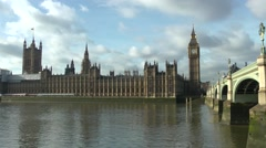 Houses of Parliament Big Ben Westminster Bridge Stock Footage