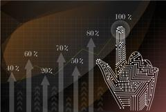 Investment concept,businessman with financial symbols coming from hand - stock illustration