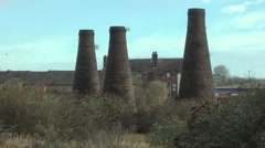 Old bottle kilns Burslem old industrial buildings urban decay Stock Footage