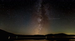 Time Lapse landscape of milky way and sky at Blidinje lake Stock Footage