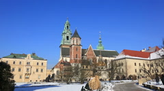 Tourists in the territory of the Wawel castle, Krakow, Poland Stock Footage