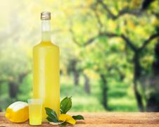 Italian alcoholic beverage, Limoncello. - stock photo