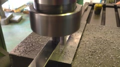 Turning  part by turning and lathe machine Stock Footage