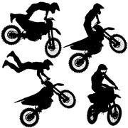 Set silhouettes Motocross rider on a motorcycle. Vector illustrations. Stock Illustration