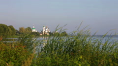 View of Spaso-Yakovlevsky Monastery from coast of lake of Nero Stock Footage