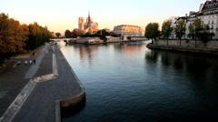 France Paris River Seine Notre Dame church cathedral sunrise Stock Footage