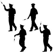 Black silhouettes of Police officer  with a rod on white background. Vector i - stock illustration