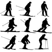 Mountain skier   men and woman speeding down slope. Vector sport silhouette. - stock illustration