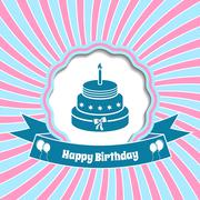 Happy birthday vector vintage card with sunrays background - stock illustration