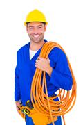 Smiling handyman with rolled wire on white background Stock Photos