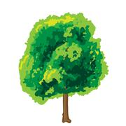 Abstract art tree green color - stock illustration