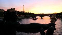 France Paris Pont Alexandre 111 bridge River Seine Eiffel tower Stock Footage