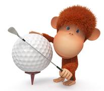 The monkey plays golf Piirros