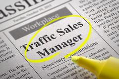 Traffic Sales Manager Jobs in Newspaper Stock Illustration