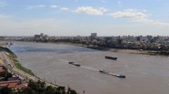 Tonle Sap river and Phnom Penh Timelapse 4K Stock Footage