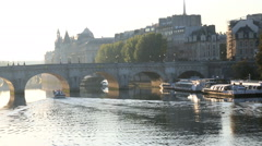 France Paris River Seine IIe de la Citie sunrise boat Stock Footage