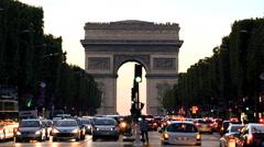 France Paris Arc de Triomphe Avenue Champs Elyses - stock footage