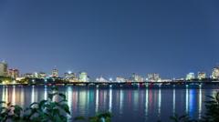 Time Lapse of Boston & Cambridge at Night Stock Footage